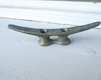 Patina Green with Gold Small DOCK CLEAT Nautical Towel Rack Beach House Boat Coat Wall HOOK Handle Drawer Pull  Home Decor