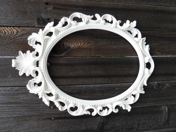 Large Hand Painted White Ornate Baroque Oval Frame Wedding Etsy