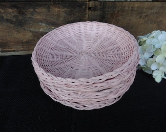 8 Hand Painted Wicker Bamboo Small Paper Plate Holders ~ Soft Pink - Shabby Chic Decor ~ Baby Bridal Shower ~ Tea Time ~ Party Event
