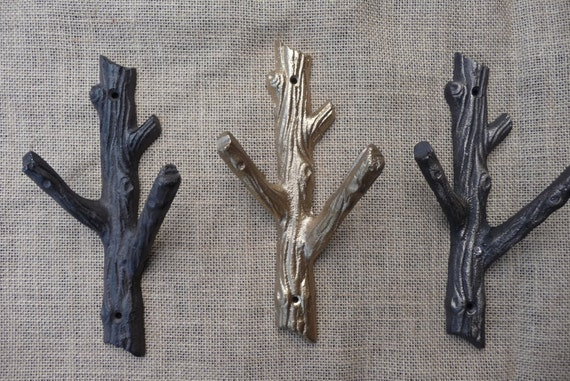 Rustic Tree Branch Wall Hook Cast Iron Metal Or Gold Coat Etsy Best Branch Wall Coat Rack