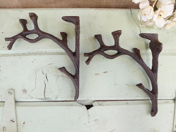 "4 SMALL BROWN 5.5/"" TREE BRANCH TWIG SHELF BRACKETS RUSTIC CAST IRON wall garden"