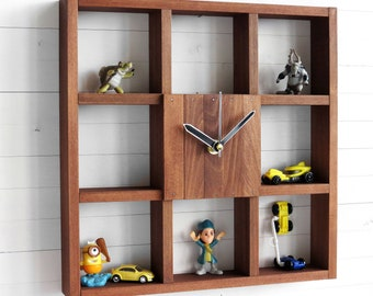 Wooden Wall Clock Box for Office and Home Decor, Square Industrial Shelf Clock for Little Treasures Storage, Awesome Gift for Him or Her