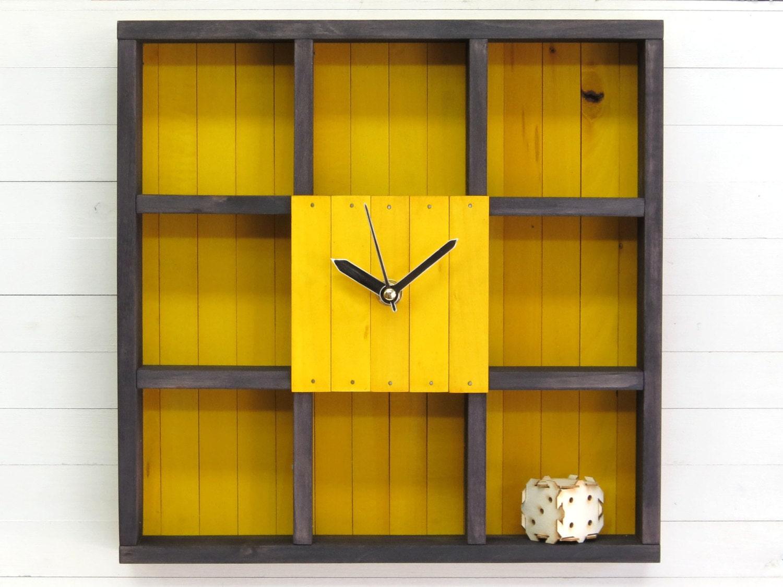 Book Shelf Shadow Box Shelf Wall Clock Geometric Wood Art | Etsy