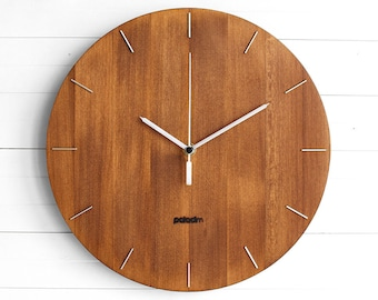 """Wooden Round Wall Clock 12"""" - The OVAL - Modern/Contemporary Industrial Style Home and Office Decor, Housewarming Gift"""