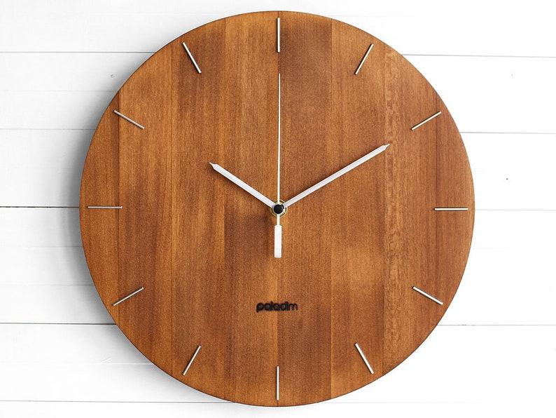 Wooden Round Wall Clock 12  The OVAL  dark linden