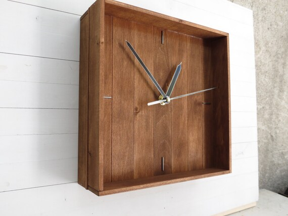 Smart Clock Minimal Decor Home Wall Clock Box Decor Wooden | Etsy