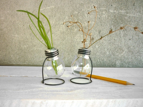 Light Bulb Vase Glass Vase Terrarium Plant Set Of 2 Vases Etsy