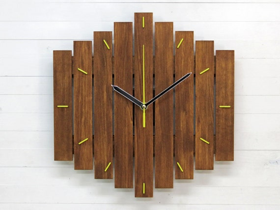 Grand romb bicolor horloge murale en bois unique décoration de