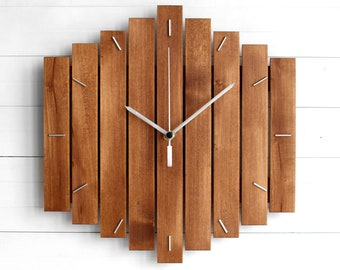 """Component Wooden Wall Clock 12"""" - The ROMB - Industrial Modern Home or Office Decor, Housewarming Gift"""