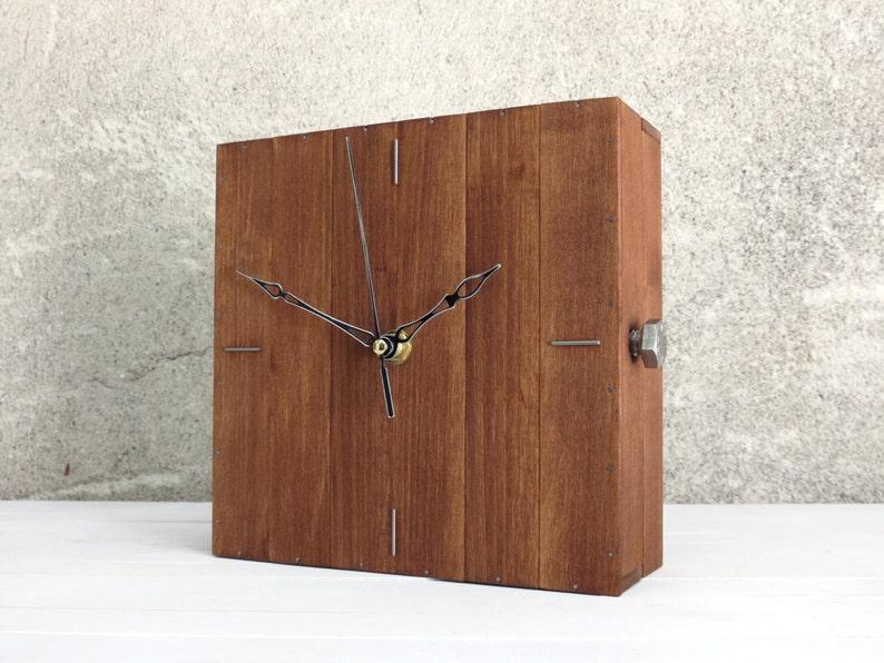 Wood Clock Cube Decor Square Clock Design Wall Clock Box Etsy