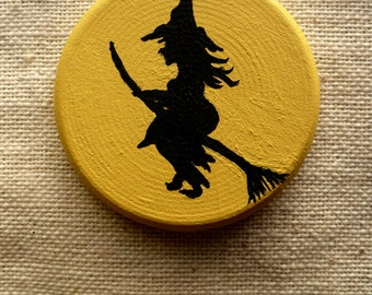 Witch & Haunted Tree Miniature Halloween Art - Pocket Charm - OOAK