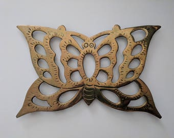 Brass Butterfly Trivet - Vintage Interpur Filligree Cutout Butterfly Shaped Trivet
