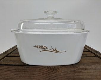 X-Large 4 Quart Corning Ware Golden Wheat Casserole Dish with Glass Lid W-84-B - CorningWare
