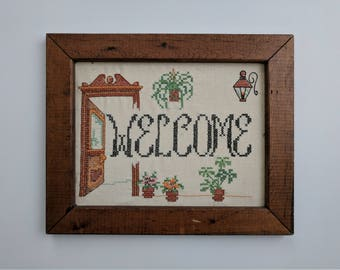 """Welcome Cross Stitch Crewel Wall Hanging """"18 x 12"""""""