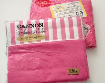 NOS Cannon Fitted Sheet and Matching Flat Sheet - NIP Pink Full-Size Sheet Set - Pink and White Striped - Candy Stripe