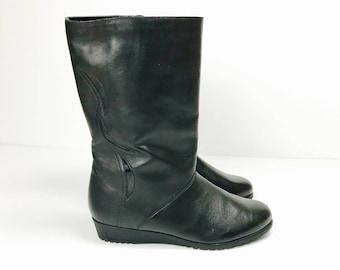 Vintage Stiefel, Gr. 42, Leder, Keilabsatz, 80er, NOS 1d54693da4