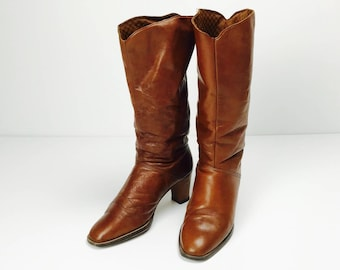 Vintage leather boots, boots, cognac, brown, 70s 80s