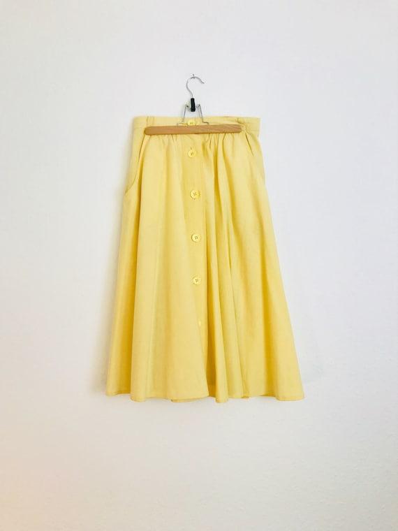 Vintage Summer Skirt Skirt S M Yellow Pockets Butt