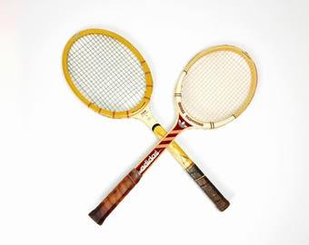 Vintage Tennis Racket, Adidas, wood, handmade, decoration