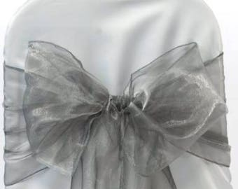 25x Silver Grey Chair Sashes Bow Cover for Wedding Engagement Anniversary Birthday Event Party Reception Ceremony Bouquet Chair Decoration