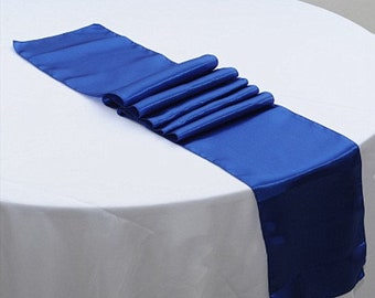 Royal Blue Satin Table Runners Wedding Banquet Ceremony Feast Birthday Anniversary Sheer Sashes Party Dining Table Decorations