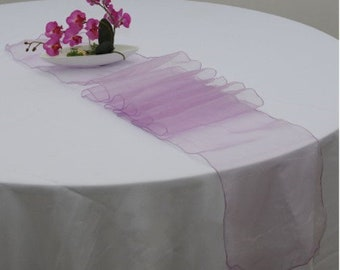 10x Lilac Lavender Organza Table Runners Wedding Banquet Ceremony Feast Birthday Anniversary Sheer Chair Sashes Party Table Decorations