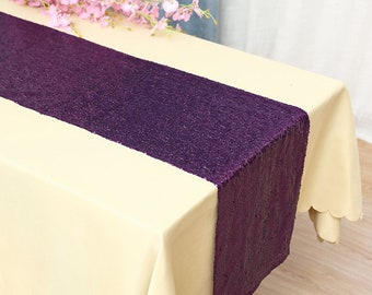 Pack of 5 Glitter Sequin Purple Table Runners Engagement Wedding Banquet Ceremony Feast Birthday Anniversary Party Dining Table Decoration