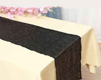 Pack of 5 Glitter Sequin Black Table Runners Engagement Wedding Banquet Ceremony Feast Birthday Anniversary Party Dining Table Decoration