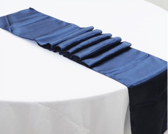 Navy Blue Satin Table Runners Wedding Banquet Ceremony Feast Birthday Anniversary Sheer Sashes Party Dining Table Decorations from 5pcs