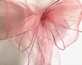 Dusty Pink Organza Chair Sashes Chair Bows Ties Wedding Banquet Ceremony Feast Birthday Anniversary Sheer Sashes Party Venue Decoration