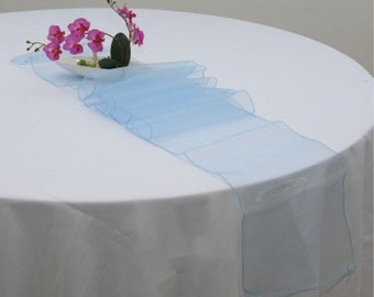 10x Light Blue Organza Table Runners Wedding Banquet Ceremony Feast Birthday Anniversary Sheer Chair Sashes Party Dining Table Decorations