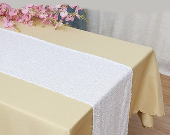 Pack of 5 White Glitter Sequin Table Runners Engagement Wedding Banquet Ceremony Feast Birthday Anniversary Party Dining Table Decor
