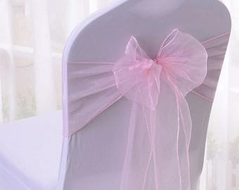 25x Pink Organza Chair Sashes Chair Bow Ribbon for Chair Wedding Engagement Girls Birthday Party Reception Ceremony Bouquet Chair Decor