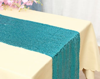 Pack of 5 Teal Glitter Sequin Table Runners Engagement Wedding Banquet Ceremony Feast Birthday Anniversary Party Dining Table Decor