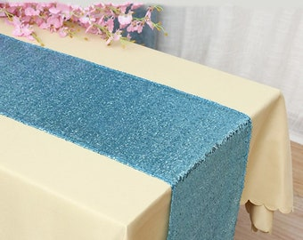 Pack of 5 Blue Glitter Sequin Table Runners Engagement Wedding Banquet Ceremony Feast Birthday Anniversary Party Venue Dining Table Decor