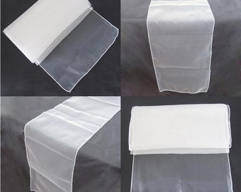 10x Ivory / Cream Organza Table Runners Wedding Banquet Ceremony Feast Birthday Anniversary Sheer Chair Sashes Party Venue Table Decorations