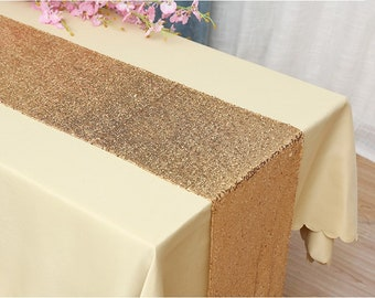 Pack of 5 Glitter Sequin Gold Table Runners Engagement Wedding Banquet Ceremony Feast Birthday Anniversary Party Dining Table Decor