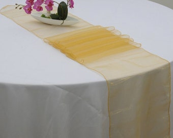 10x Gold Organza Table Runners Wedding Banquet Ceremony Feast Birthday Anniversary Sheer Chair Sashes Party Dining Table Decorations