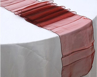 10x Burgundy Organza Table Runners Wedding Banquet Ceremony Feast Birthday Anniversary Sheer Chair Sashes Party Dining Table Decorations