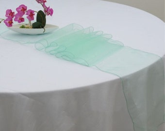 10x Mint Green Organza Table Runners Wedding Banquet Ceremony Feast Birthday Anniversary Sheer Chair Sashes Party Dining Table Decorations