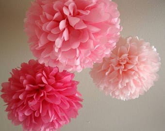 18pcs Mixed Size Pink Shade Tissue Paper Pom Poms Girl's First 21st Birthday Party Baby Shower Nursery Home Bridal Shower Hanging Decoration