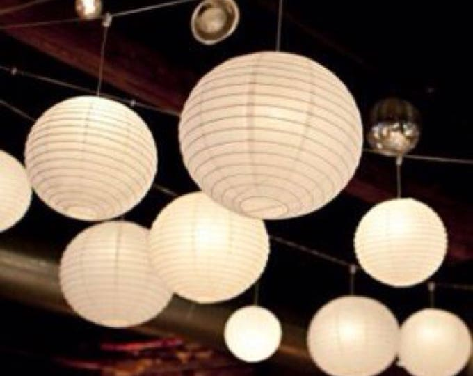 Featured listing image: 9pcs White Paper Lanterns and LED Bulbs • Wedding Engagement Anniversary Birthday Party Christening Hanging Table Centrepiece Lighting Decor