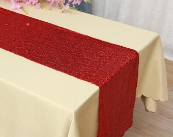 Pack of 5 Red Glitter Sequin Table Runners Engagement Wedding Banquet Ceremony Feast Birthday Anniversary Party Dining Table Decoration