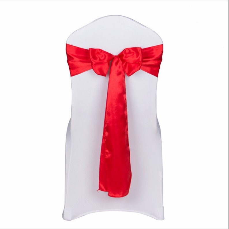 Excellent 25 200Pcs Red Satin Chair Sashes Bows Ribbon Chair Ties Table Runner Wedding Engagement Birthday Christmas Dinning Chair Table Decoration Download Free Architecture Designs Rallybritishbridgeorg