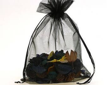 Black Organza Pouch Bags with Drawstring - Wedding Party Favour Bag - Baby Shower Gift Bag - Fragrance Sachet