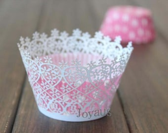 50x White Little Flower Cupcake Wrapper for Wedding Party Cake Tree  Decoration | Reception Centerpiece Baking Decor