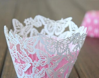 50x White Butterfly Cupcake Wrapper for Wedding Party Cake Tree  Decoration | Reception Centerpiece Baking Decor