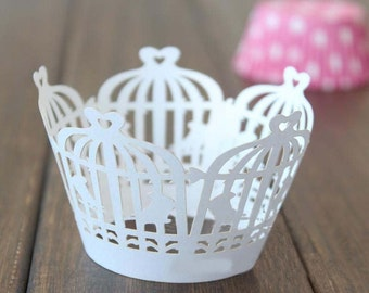 50x White Birdcage Cupcake Wrapper for Wedding Engagement Party Cake Tree  Decoration | Reception Centerpiece Baking Decor