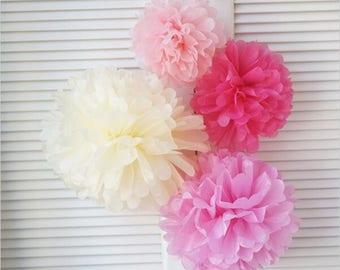 20pcs Pinks Cream Tissue Paper Pom Pom Wedding Baby Shower Party Engagement Bridal Shower Nursery Home Decor Girl's 1st Birthday
