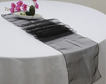 10x Black Organza Table Runners Wedding Banquet Ceremony Feast Birthday Anniversary Sheer Chair Sashes Party Dining Table Decorations